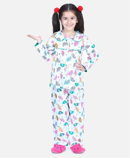 BownBee Full Sleeve Umbrella Printed Night Suit - White