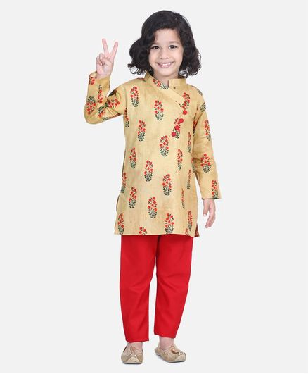 BownBee Floral Print Full Sleeves Kurta & Pajama - Yellow