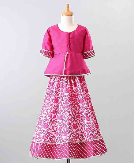 The Little Fashionistas Half Sleeves Peplum Top With Flared Motif Print Skirt - Pink