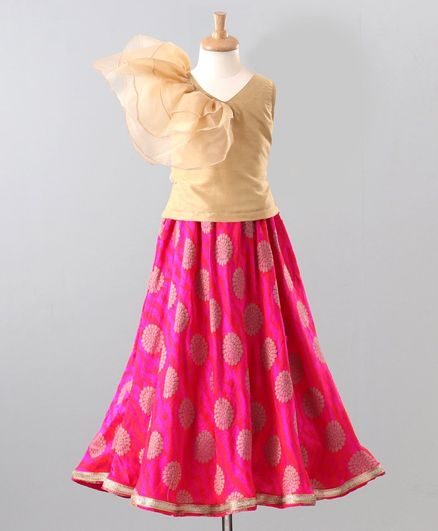 The Little Fashionistas Short Sleeves Top With Motif Print Skirt - Brown Pink