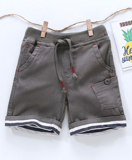 Babyhug Solid Color Short With Draw Strings - Grey