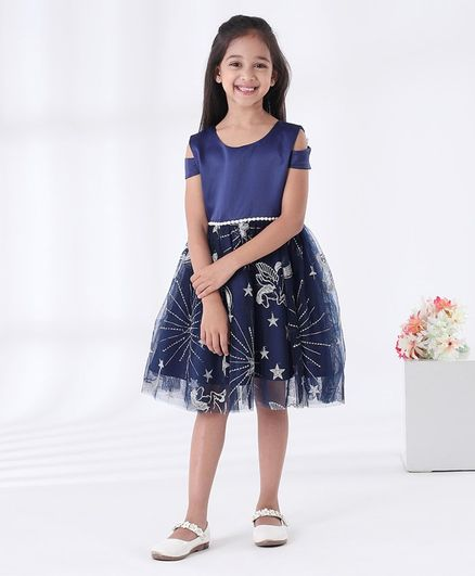 Mark & Mia Sleeveless Embroidered Party Frock - Navy Blue