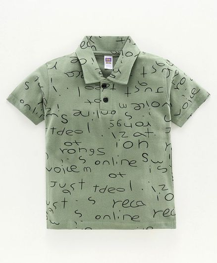 Nottie Planet Half Sleeves Alphabets Print Polo Tee - Deep Green