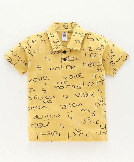 Nottie Planet Half Sleeves Alphabets Print Polo Tee - Light Yellow