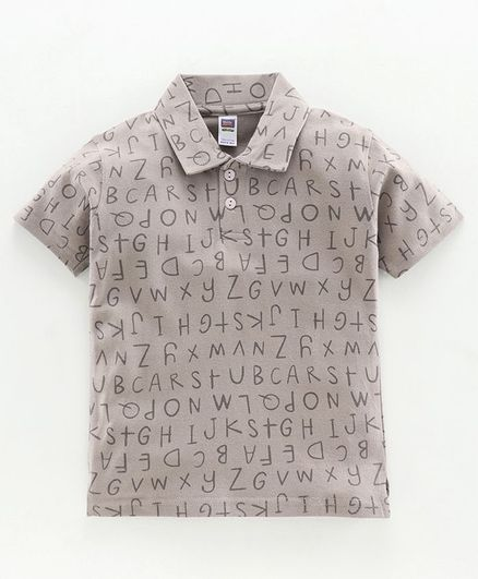 Nottie Planet Half Sleeves Alphabets Print Polo Tee - Grey