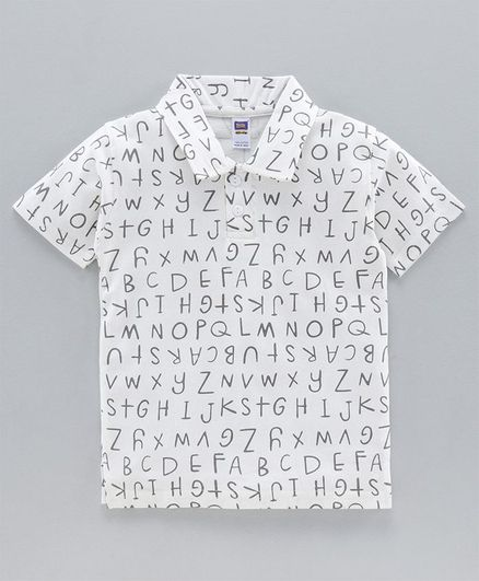 Nottie Planet Half Sleeves Alphabets Print Polo Tee - White