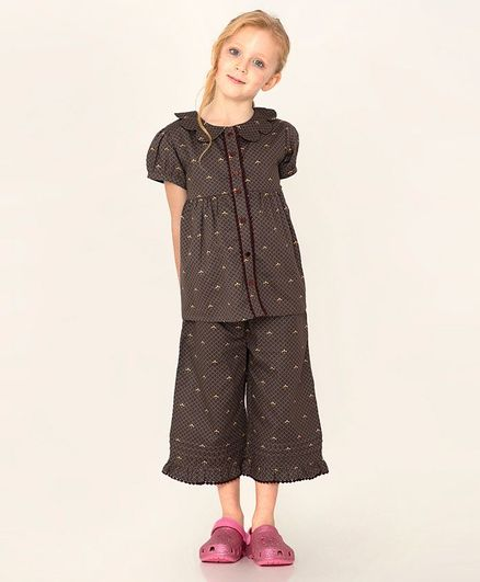 Cherry Crumble By Nitt Hyman Half Sleeves Print Night Suit - Brown