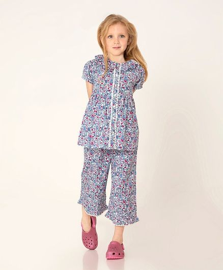 Cherry Crumble By Nitt Hyman Short Sleeves Floral Print Night Suit - Purple