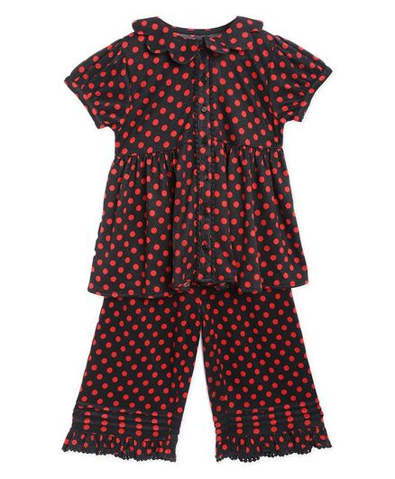 Cherry Crumble By Nitt Hyman Short Sleeves Polka Dotted Night Suit - Black