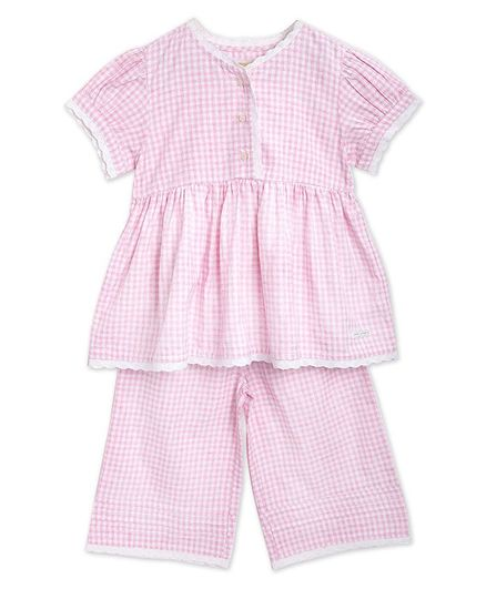 Cherry Crumble By Nitt Hyman Short Sleeves Checked Night Suit - Pink