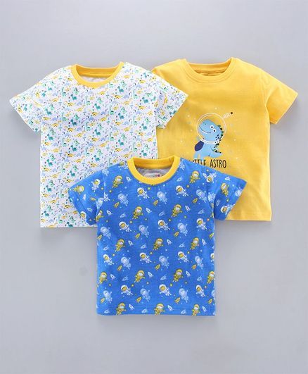 BUMZEE Pack Of 3 Half Sleeves Dinosaurs Print Tees - Blue & Yellow