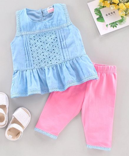 Babyhug Sleeveless Lace Border Top and Shorts Set Floral Embroidery - Blue