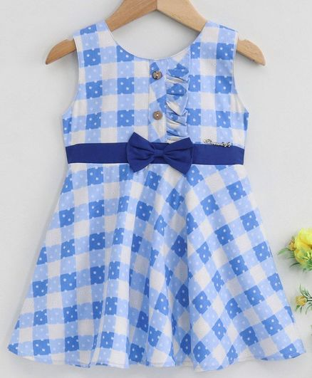 Twetoons Sleeveless Checkered Frock - Blue