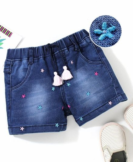 Babyhug Mid Thigh Length Denim Shorts Floral Embroidery - Blue