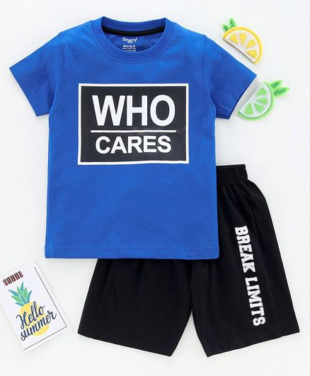 Smarty Half Sleeves Tee and Shorts Set Text Print - Blue