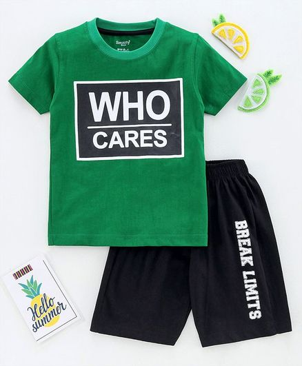 Smarty Half Sleeves Tee and Shorts Set Text Print - Green