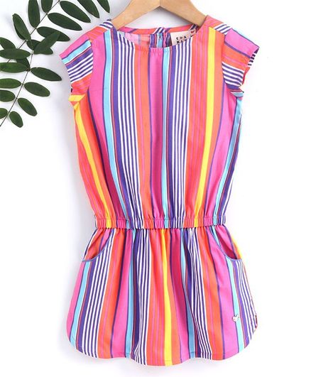 Ed-a-Mamma Cap Sleeves Striped Drop Waist Dress - Multi Color