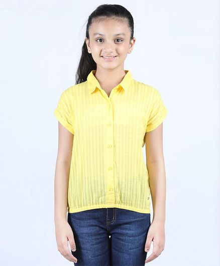 Ed-a-Mamma Short Sleeves Striped Dobby Top With Collar - Yellow