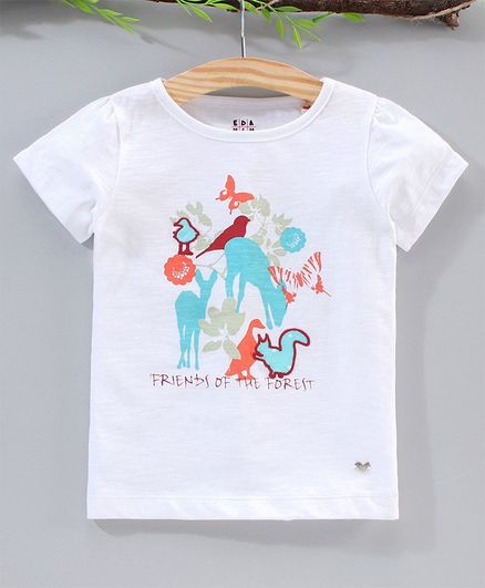 Ed-a-Mamma Short Sleeves Friends Of The Forest Print Tee - White
