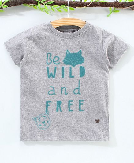 Ed-a-Mamma Half Sleeves Be Wild And Free Flock Print Tee - Grey Melange