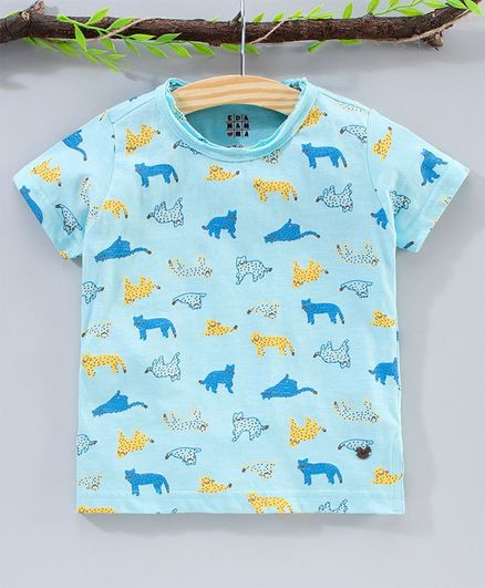 Ed-a-Mamma Half Sleeves All Over Animals Print Tee - Blue