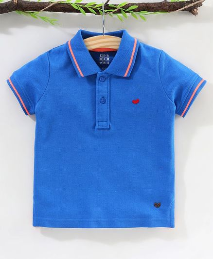 Ed-a-Mamma Half Sleeves Solid Polo Tee - Royal Blue