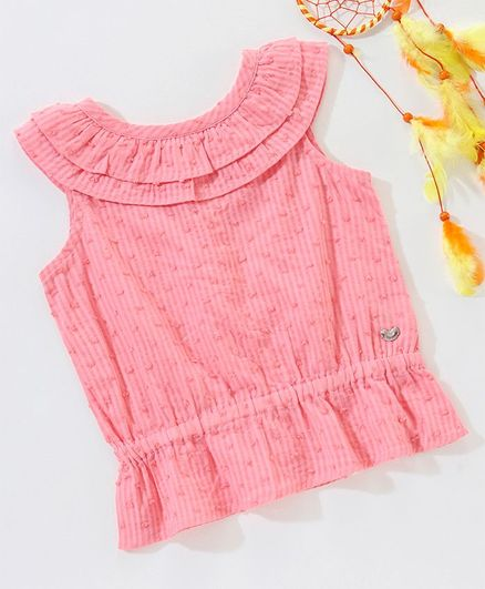 Ed-a-Mamma Solid Sleeveless Dobby Top With Ruffle Detail - Peach