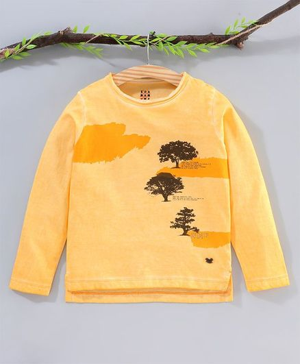 Ed-a-Mamma Full Sleeves Trees Print Tee - Yellow
