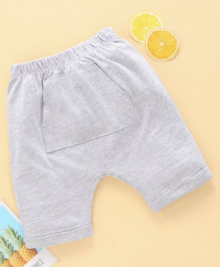 Fox Baby Mid Thigh Length Cotton Shorts - Grey