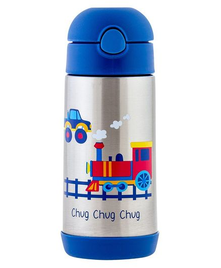 Stephen Joseph Sipper Water Bottle Train Print Blue - 350 ml