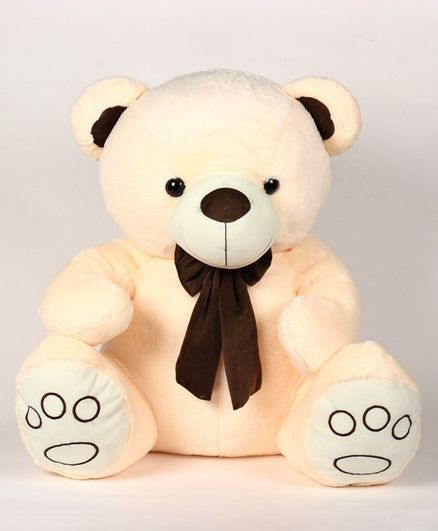 Dimpy Stuff Teddy Bear Soft Toy with Bow Cream - Height 70 cm
