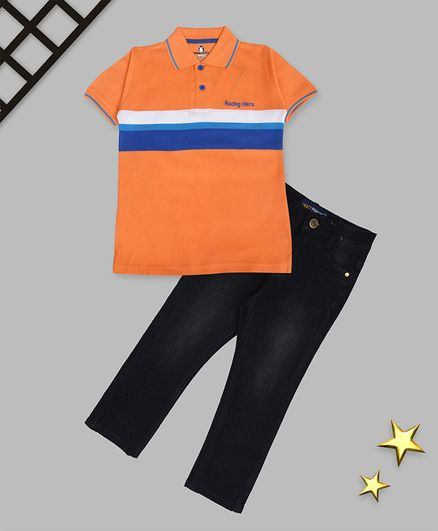 Crazy Penguin Half Sleeves Striped Polo Tee With Jeans - Orange & Black