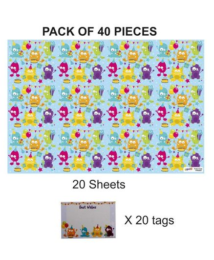 Party Anthem Monster Gift Wrapping Paper with Name Tags Blue - Pack of 40