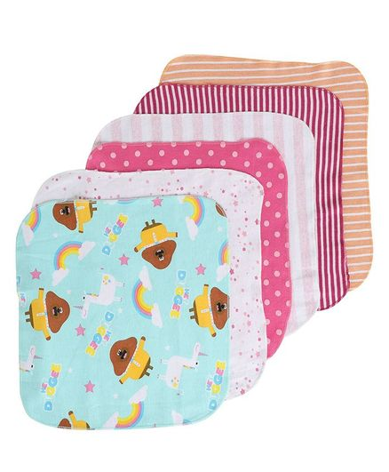 BUMZEE Polka Dotted & Striped Pack Of 6 Napkins - Multi Color