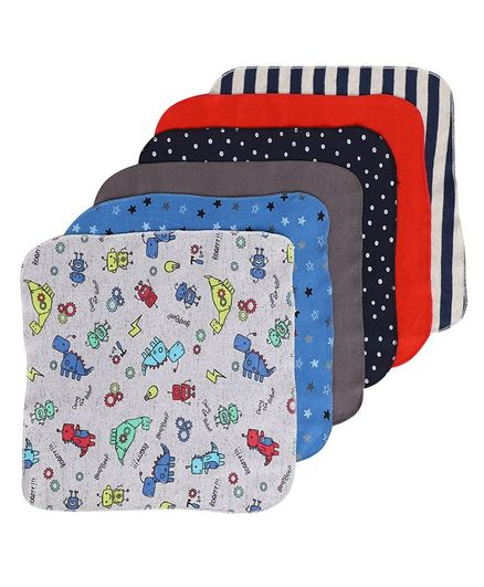 BUMZEE Polka Dotted & Star Print Assorted Pack Of 6 Napkins - Multi Color