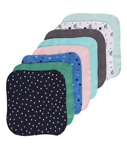 BUMZEE Assorted Pack Of 8 Crown & Polka Dotted Napkins - Multi Color