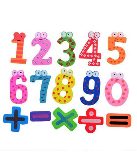 Kuhu Creation Wooden Number & Sign Magnet Sticker Multicolor - 15 Pieces