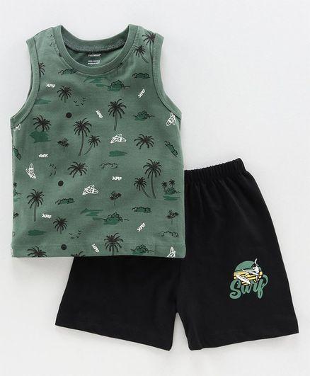 Cucumber Printed Sleeveless Tshirt & Shorts - Green