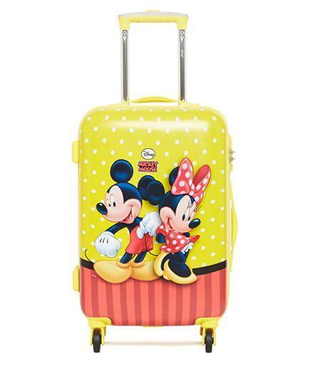 2da69363a37 DISNEY Mickey Mouse Trolley Bag Mickey Minnie Print Yellow - 20 Inches