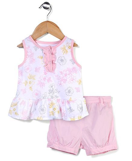 Sterling Baby Flower Print Top & Shorts Set - White & Pink