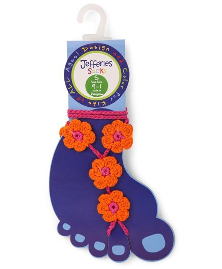 Jefferies Socks Floral Design Barefoot Sandals - Orange