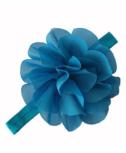 Bellazaara  Chiffon Silk Flowers Soft Stretch Headband  - Blue