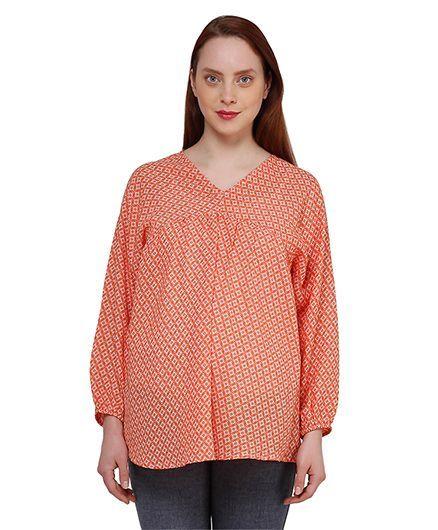 f70689855e0 Oxolloxo Full Sleeves Geometric Print Maternity Top Orange Online in ...