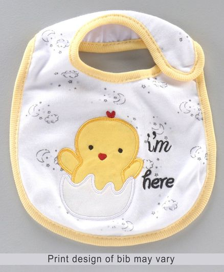 Babyhug Knitted Velcro Bib Chicken Embroidery - Yellow White