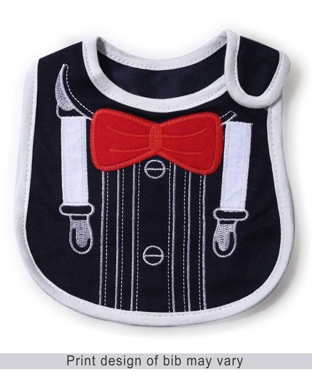 Babyhug Bib Bow Embroidery - Navy And Red