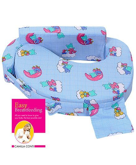 Babyhug Teddy On Clouds Feeding Pillow - Blue and Pegasus - Easy Breastfeeding