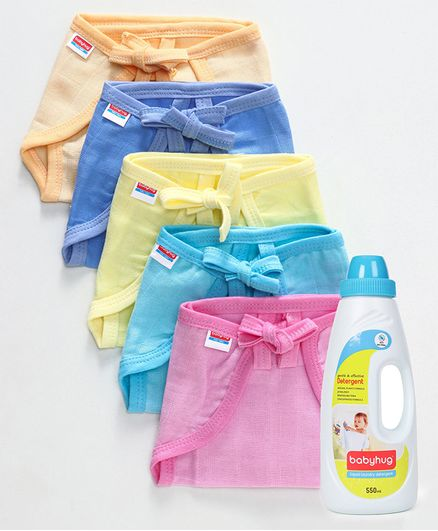 Babyhug U Shape Muslin Nappy Set Lace Small Pack Of 5 - Multicolor- 1 Qty and Babyhug Liquid Laundry Detergent - 550 ml- 1 Qty