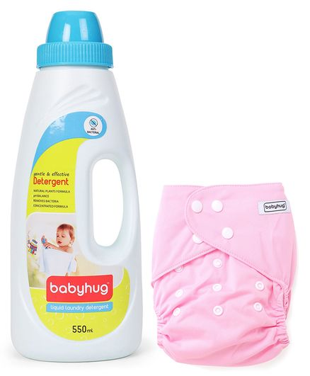 Babyhug Free Size Reusable Cloth Diaper With Insert - Light Pink- 1 Qty and Babyhug Liquid Laundry Detergent - 550 ml- 1 Qty