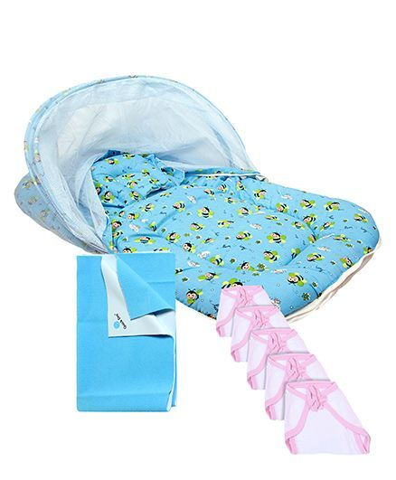 Morisons Baby Dreams Mosquito Net Bed Bee Theme - Blue and Quick Dry Bed Protector Blue - Small and Babyhug U Shape Muslin Nappy Set Small Pack Of 5 - Pink And Whit