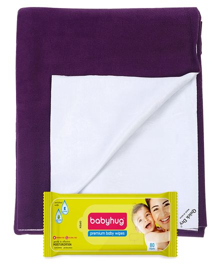 Babyhug Premium Baby Wipes - 80 Pieces AND Quick Dry Bed Protector Mat Plum -  Medium